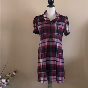 JH Cowl Neck Lined Plaid Dress